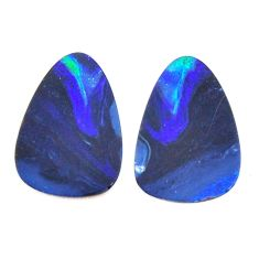 Natural 10.10cts doublet opal australian blue 17x12mm pair loose gemstone s15591