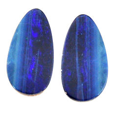 Natural 9.20cts doublet opal australian blue 18.5x9mm pair loose gemstone s15598