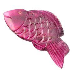 Natural 35.70cts tourmaline pink carving 45x23 mm fish loose gemstone s1601