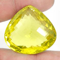Natural 80.15cts topaz lemon faceted 31x29 mm heart loose gemstone s2308
