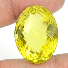 Natural 48.45cts topaz lemon faceted 26x19 mm oval loose gemstone s2324