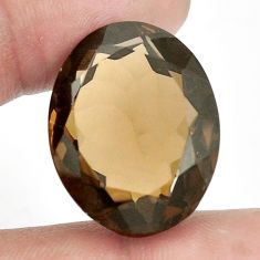 40.15cts smoky topaz brown faceted 26x20 mm oval loose gemstone s2358