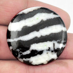 Natural 42.40cts zebra jasper white cabochon 31x31 mm round loose gemstone s3537