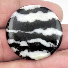 Natural 38.15cts zebra jasper white cabochon 29x29 mm round loose gemstone s3539