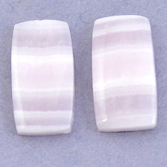 Natural 23.90cts lace agate pink cabochon 22x12 mm octagan loose gemstone s3681