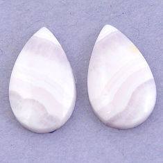 Natural 24.80cts lace agate pink cabochon 23.5x14 mm pear loose gemstone s3688