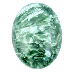 Natural 21.10cts seraphinite (russian) green 26x18 mm oval loose gemstone s4331