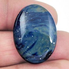 Natural 24.30cts swedish slag blue cabochon 28x20 mm oval loose gemstone s4514