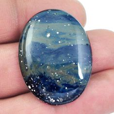 Natural 31.45cts swedish slag blue cabochon 33x24 mm oval loose gemstone s4515