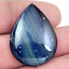 Natural 24.35cts swedish slag blue cabochon 30x22 mm pear loose gemstone s4520