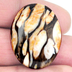 Natural 21.25cts peanut petrified wood fossil 29x22 mm oval loose gemstone s4553
