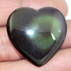 Natural 44.80ct obsidian eye rainbow cabochon 30x30mm heart loose gemstone s4784