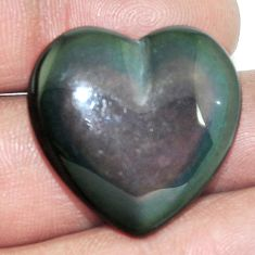 25.65cts obsidian eye rainbow cabochon 25x25 mm heart loose gemstone s4800