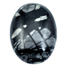 Natural 20.15cts picasso jasper black cabochon 26x18mm oval loose gemstone s4871