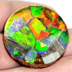 Natural 52.40cts ammolite triplets faceted 30x30 mm round loose gemstone s5557