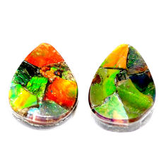 Natural 11.25cts ammolite triplets cabochon 16x12 mm pear loose gemstone s5605