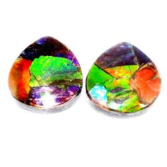 Natural 19.05cts ammolite triplets cabochon 18x17 mm heart loose gemstone s5610