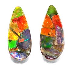 Natural 8.45cts ammolite triplets cabochon 18x7.5 mm pear loose gemstone s5614