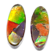 Natural 11.30cts ammolite triplets cabochon 19x7.5 mm oval loose gemstone s5621