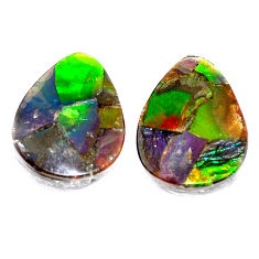 Natural 9.20cts ammolite triplets cabochon 16x12 mm pear loose gemstone s5623