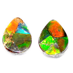 Natural 11.30cts ammolite triplets cabochon 16.5x12 mm pear loose gemstone s5627