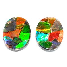 Natural 14.20cts ammolite triplets cabochon 20x15 mm oval loose gemstone s5637
