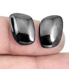 Natural 8.15cts shungite black cabochon 16x10 mm pair loose gemstone s5794
