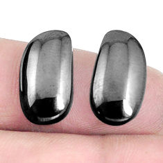 Natural 9.20cts shungite black cabochon 17x9 mm pair loose gemstone s5799
