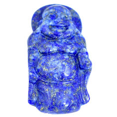 Natural 26.25cts lapis lazuli blue carving 33x17 mm buddha loose gemstone s6236