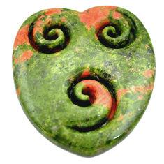 Natural 40.10cts unakite green carving 35x30 mm heart loose gemstone s6261