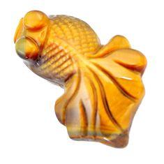 Natural 38.15cts tiger's eye brown carving 36x24 mm fish loose gemstone s6275