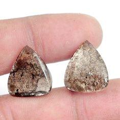 Natural 13.45cts agni manitite brown pair 17x15 mm pear loose gemstone s6332