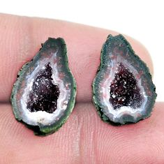 Natural 14.45cts geode druzy brown rough 18x12 mm pair loose gemstone s6621