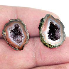 Natural 16.30cts geode druzy brown rough 18x14 mm pair loose gemstone s6622
