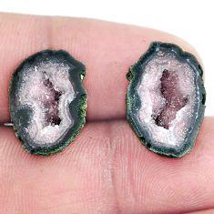 Natural 16.30cts geode druzy brown rough 18x12 mm pair loose gemstone s6623