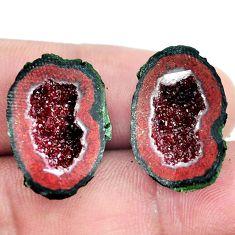 Natural 23.45cts geode druzy brown rough 21x15 mm pair loose gemstone s6624