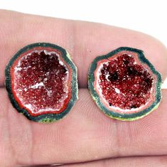 Natural 21.25cts geode druzy brown rough 18x16.5 mm pair loose gemstone s6625
