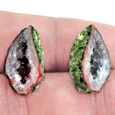 Natural 18.45cts geode druzy brown rough 20x12 mm pair loose gemstone s6628