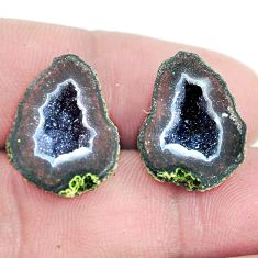 Natural 17.35cts geode druzy brown rough 18x14 mm pair loose gemstone s6629