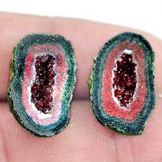 Natural 22.35cts geode druzy brown rough 20x12 mm pair loose gemstone s6633