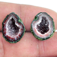 Natural 17.35cts geode druzy brown rough 17x14 mm pair loose gemstone s6635