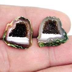 Natural 16.30cts geode druzy brown rough 17x16 mm pair loose gemstone s6637