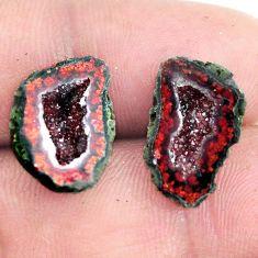Natural 10.15cts geode druzy brown rough 16x11 mm pair loose gemstone s6639