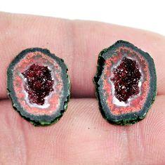 Natural 17.40cts geode druzy brown rough 17x12.5 mm pair loose gemstone s6640