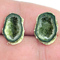 Natural 9.35cts geode druzy brown rough 16x11 mm pair loose gemstone s6641