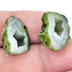 Natural 17.40cts geode druzy brown rough 18x11 mm pair loose gemstone s6643