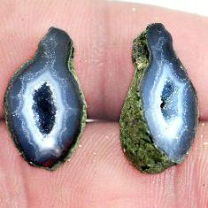 Natural 17.40cts geode druzy brown rough 20x11 mm pair loose gemstone s6644