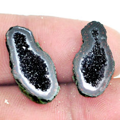 Natural 9.45cts geode druzy brown rough 20x10 mm pair loose gemstone s6645