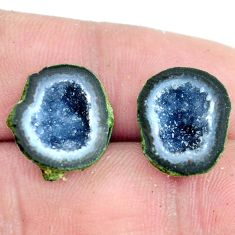 Natural 12.35cts geode druzy brown rough 15x13.5 mm pair loose gemstone s6646