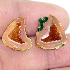 Natural 12.35cts geode druzy brown rough 15.5x15 mm pair loose gemstone s6647